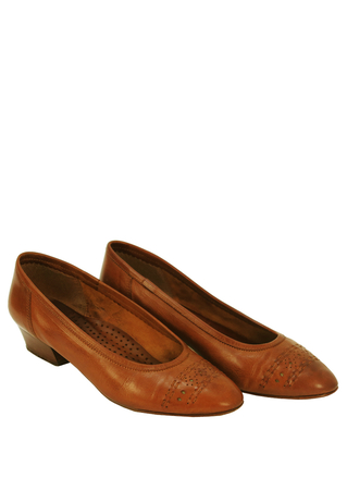 Tan Brown Leather Low Heel Slip on Shoes with Perforated Pattern - UK Size 5