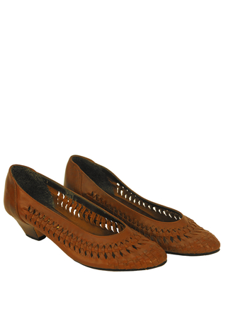 Brown Leather Low Heel Shoes with Woven Lattice Detail - UK Size 5