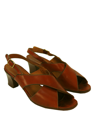 Tan Brown Leather Slingback Sandals with Cross Over Strap Design - UK Size 3.5
