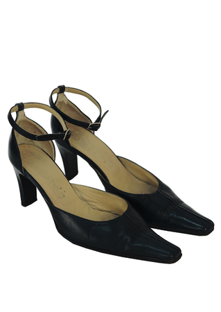 Navy Blue Leather High Heel Pointed Toe Shoes with Ankle Straps - UK Size 6