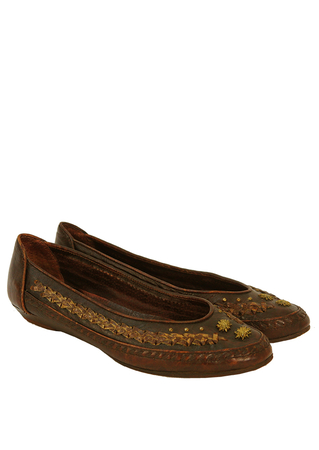 Buttero Brown Leather Flat Pump Shoes with Decorative Gold Detail - UK Size 5