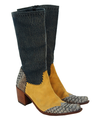 Crocodile, Suede & Denim Cowboy Boots - UK Size 4