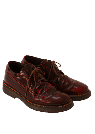 Chunky Patent Leather Burgundy Lace Up Brogues - UK Size 6