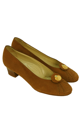 Tan Suede Shoes with a Perforated Pattern & Gold Orb Discs - UK Size 4