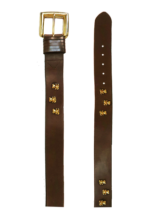 Brown Leather Belt with Metallic Gold Teddy Bear Motifs