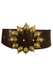 Brown Leather Belt with Large Gold Turtle Motifs Buckle!