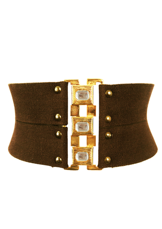 Double Strap Brown Stretch Belt with Large Interlocking Gold & Diamante Buckle
