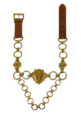 Suede & Gold Chain Belt with Lion Head Detail