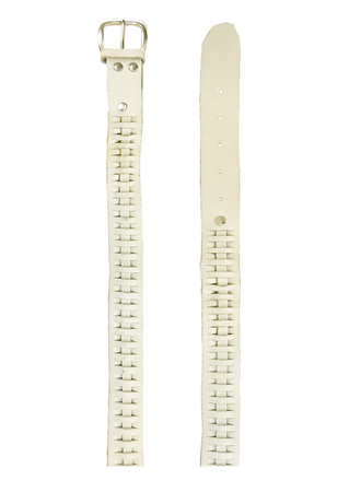 White Leather Belt with Decorative Weave & Silver Buckle
