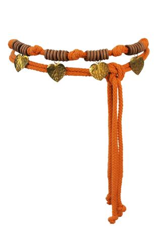 Orange Rope Belt with Wooden Hoops & Metallic Gold Heart Pendants