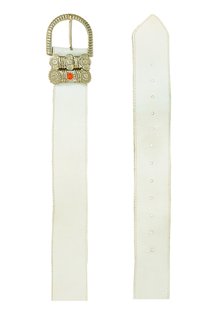 White Leather Belt with Decorative Silver & Orange Jewelled Belt Loops