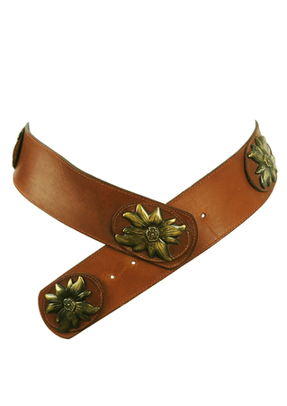 Brown Leather Belt with Decorative Brass Sunflowers