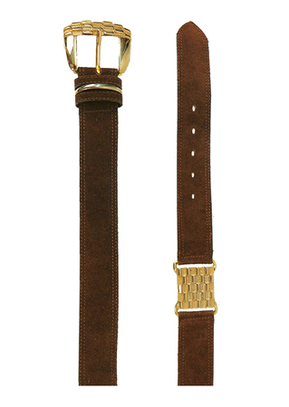 Brown Suede Belt with Gold buckle & Metallic Gold Grid Patterned detail