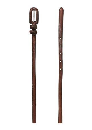 Skinny Brown Leather, Snakeskin Patterned Belt