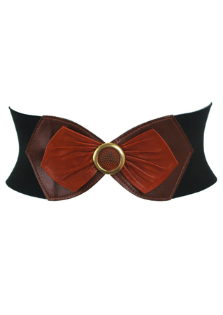 Black Stretch Belt with Layered Brown Leather Bow Detail