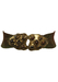 Green, Brown & Copper Stretch Belt with a Brass & Brown Marble Fastening