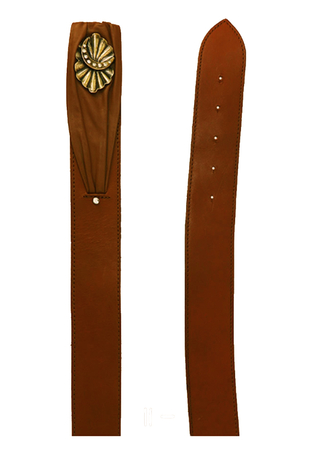 Tan Brown Leather Belt with Decorative Brass & Diamante Fastening