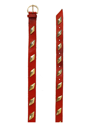 Red Leather Belt with Gold Metal Diamond Shaped Pattern