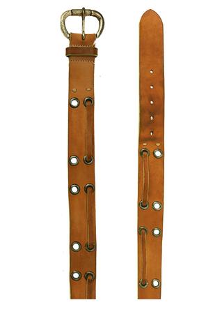MaxMara Tan Leather Belt with Interwoven Eyelet Design