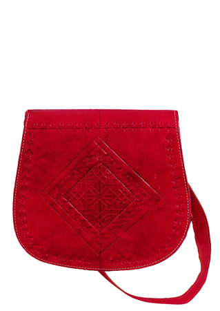 Fuchsia Pink Leather Shoulder Strap Saddle Bag with Embossed Pattern