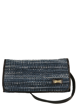 Leather Lined Clutch Bag with Detachable Strap & Blue Woven Straw Pattern