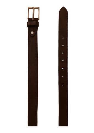 Dark Brown Leather Belt with Square Silver Buckle