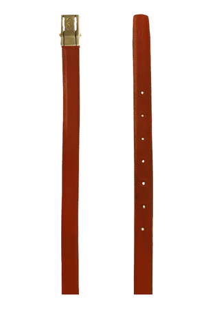 Rich Tan Slim Leather Belt with Silver Stud Fastening Buckle with Engraved 'V' Design