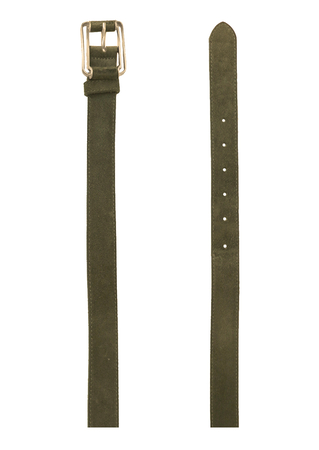 Grey Suede Leather Belt with Silver Metal and Suede Buckle