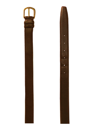 Textured Brown Leather Belt with Gold Buckle