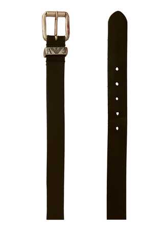 Armani Jeans Black Leather Belt with Silver and Copper Buckle