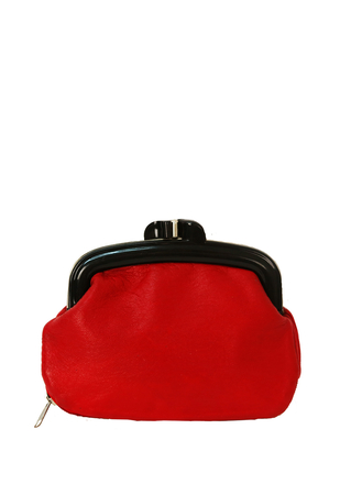 Red Leather Mini Clutch Bag with Concealed Zip Compartment