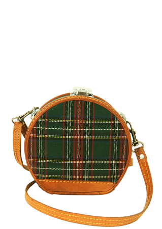 Circular Tartan & Leather Structured Case with Hinge Opening