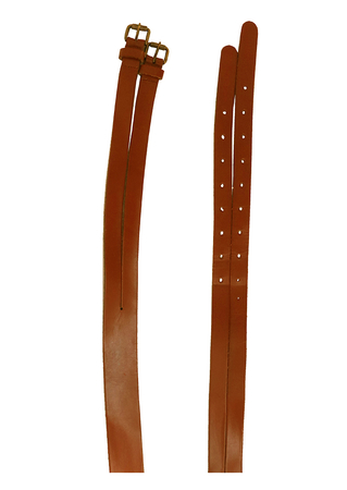 Two Tiered Tan Brown Leather Belt with Double Buckles