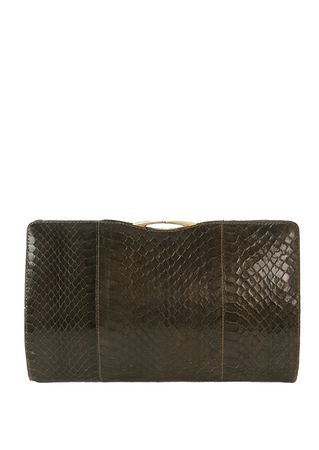 Warm Grey Snakeskin Clutch Bag with Metallic Gold Clasp & Edging