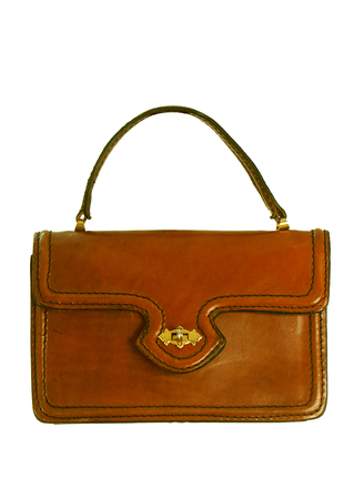 Tan Brown Leather Handbag with Decorative Black Stitching