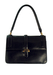 Petite Navy Blue Leather Handbag with Gold Fastening