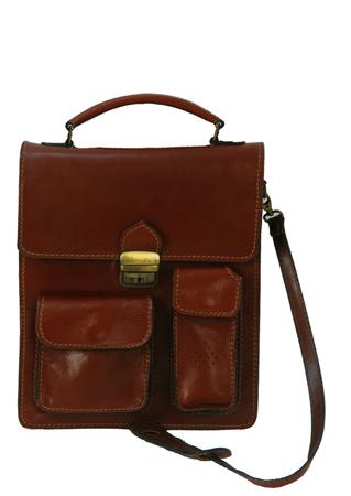Chestnut Brown Leather Correspondents Bag with Detachable Shoulder Strap