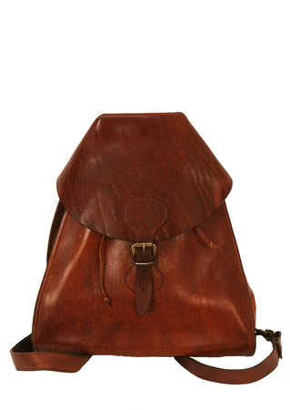 Tan Brown Leather Rucksack / Bucket Bag with Structured Hood Flap