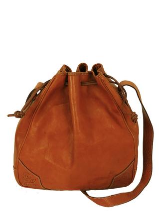 Tan Leather Drawstring Bucket Shoulder Bag