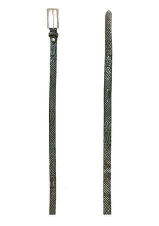 Black & Metallic Silver Snakeskin Print Skinny Belt with Diamante Buckle