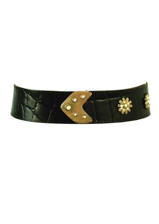 Black Leather Textured Belt with Brass & Diamante Decorative Features