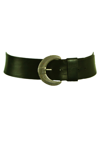 Black Leather Curved Belt with Crescent Shaped Silver Buckle
