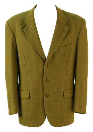 Teal and Ochre Herringbone Tweed Jacket - XL/XXL