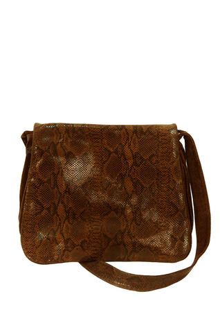 Brown Suede Shoulder Saddle Bag with Snakeskin Print Flap