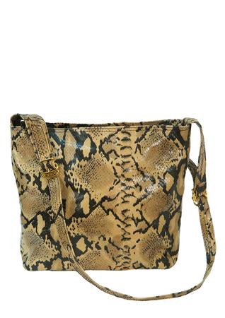 Leather Snakeskin Print Shoulder Bag in Camel & Dark Brown