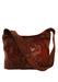 Red Suede Shoulder Bag with Black Snakeskin Pattern