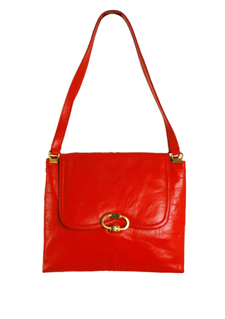 Vintage 1960's Red Vinyl Shoulder Bag with Gold Clasp
