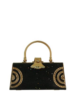 Decorative Metal Handbag in Gold & Glittery Black with Mini Stars & Diamantes
