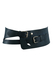Teal Blue Wide Leather Belt with Upper & Lower Buckle Fastening