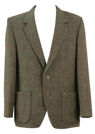 Grey and Red Prince of Wales Check Tweed Jacket - XL